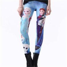 Snow Queen 3D Print Leggings Women Elsa Skinny Halloween Digital Leggin Female Clothing Autumn Elastic Milk Plus Size Hans K151
