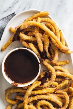 Churro Fries with Spicy Chocolate Dip #churros #churro #chocolatedip