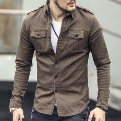 Men's Autumn Denim Uniform Shirt Male Military Long Sleeved Shirt zorket is part of Mens fashion edgy - Uniform Shirts, Casual Shirts, Shirts For Men, Fashion Night, Men's Fashion, Fashion Clothes, Camisa Slim, Cheap Mens Fashion, Men With Street Style