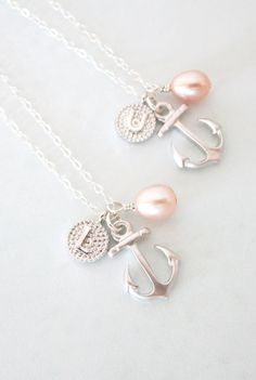0a794857319a Personalisierte Anchor Halskette einfache Silber von GlitzAndLove Freund  Schmuck, Personalisierte Halskette, Silberschmuck, Lederband