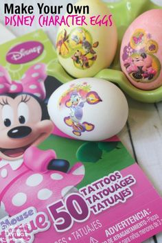 Check out these Disney Character Easter Eggs & More! Have cute and perfectly designed Easter Eggs with these Temporary Tattoo Eggs! SO FUN for kids!