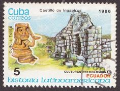 A post stamp printed in Cuba shows Castillo de Ingapirca in Ecuador. Circa 1986