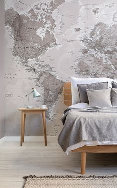 Add an intriguing focal point to your wall with this neutral world map wallpaper, a versatile design that will impress. World Map Mural, World Map Wallpaper, Interior House Colors, Interior Design Studio, Classic Interior, Home Decor Store, Contemporary Bedroom, Minimalist Decor, Colorful Interiors