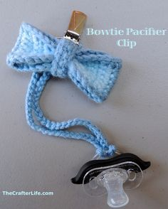 Crochet Toys For Boys Crochet Bowtie/Pacifier Clip Holder Crochet Bow Ties, Crochet Baby Shoes, Crochet Baby Clothes, Crochet For Boys, Love Crochet, Crochet Gifts, Crochet Beanie, Crochet Pacifier Holder, Baby Patterns