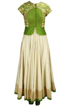 Olive green and beige tar embroidered peplum anarkali set available