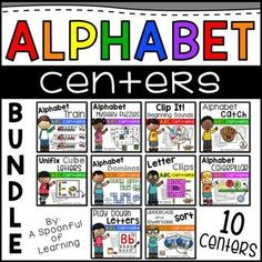 This bundle includes 10 Alphabet Centers that are hands-on, interactive, and engaging activities. These activities will help students master and review letters while having lots of FUN! Each center includes:I Can kid friendly posters for student independence.Recording sheets for student accountability.Detailed how to use and prep directions.Easy to prep activities.Students will get to practice letter identification, beginning sounds, sorting, handwriting, fine motor skills, and so much…