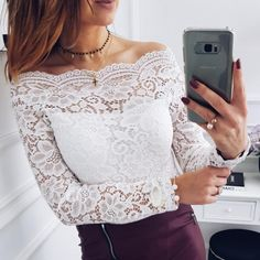2018 women new spring sexy lace bottoming shirt Hollow Out flowers Slash neck long sleeves Slim tops