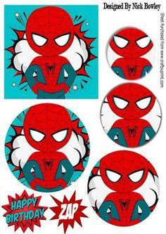 BOOM ZAP Spider man in Turq oval pyramids on Craftsuprint - Add To Basket!