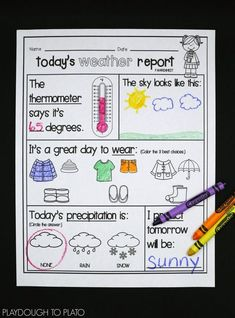 Teaching a weather unit? the weather activity pack is a must. the 14 engaging activities teach young meteorologists about weather, temperature, clouds, Teaching Weather, Preschool Weather, Weather Science, Weather Unit, Preschool Science, Teaching Science, Kindergarten Activities, Weather Report For Kids, Weather Activities For Kids