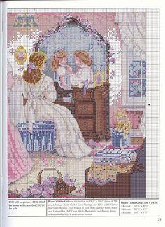 0 point de croix souvenir mere et fille devant le miroir - cross stitch memories mother daughter in front mirror part 3