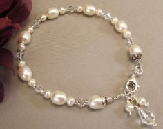 White Pearl and Swarovski Crystal Bridesmaid Bracelet and Earring Set