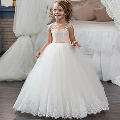 Lace Ball Gown Flower Girl Dresses For Weddings 2017 Cheap Sheer Crew Champagne White Tulle Bow Sash Button Puffy First Communion Dress White And Purple Flower Girl Dresses Beautiful Girl Dress From Beautyu002, $83.19| Dhgate.Com