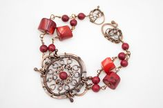 The Depths of Coral Reef - Romatic, hand made, bracelet from wire wrapped copper and deep red coral, jewelry design