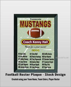 Football Team Roster Plaque - Stock Design - X Football Roster, Football Coach Gifts, Football Banquet, Football Shirts, Personalized Football, Team Mom, Sports Basketball, Fantasy Football, Funny Tom