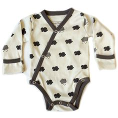Say so long to rainy day blues, with this darling organic cotton kimono onesie.