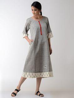 Grey-Ivory Ikat Khadi Cotton Dress
