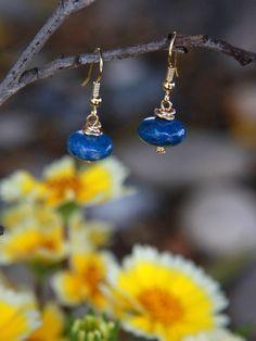 Blue beaded Earrings, Raindrop Earrings