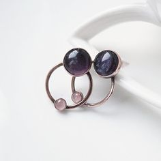 Amethyst Earring Posts Purple Small Posts Rose by StudioAngel