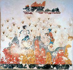 Minoan Zafferano Raccoglitori Affresco Arte da Akrotiri, Santorini, Grecia