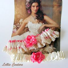 Summer Lace Coral Wedding Garter Set by lolliecouture on Etsy, $48.00