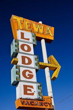 Route 66 Tewa Lodge  Vintage Neon Motel Sign by RetroRoadsidePhoto