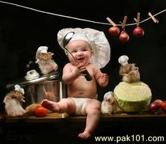 Funny Baby   Funny Baby Cooking Picture