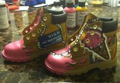 Custom girly timberlands I painted inspired by @stanlee_