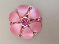 Vintage STYLE Retro Gold Tone Pink Plastic Bead & Diamante Floral Brooch