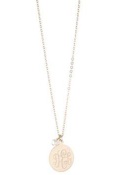 Danielle Stevens Jewelry - Pearl Drop Monogram Necklace