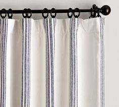 Riviera Striped Linen/Cotton Rod Pocket Blackout Curtain - Charcoal | Pottery Barn No Sew Curtains, Striped Curtains, Printed Curtains, Rod Pocket Curtains, White Curtains, Grommet Curtains, Striped Linen, Navy Curtains Bedroom, Ticking Stripe