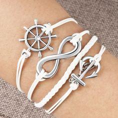 Anchor Bracelet Charm  Bracelets - infinity bracelet anchor wheel cross cotton rope leather bracelet white Image. Anchor Bracelet Charm #Anchor #Bracelet #Charm #AnchorBracelet #AnchorCharm Love Bracelets, Bangles, Beaded Bracelets, Infinity Bracelets, Charm Bracelets, Just Girly Things, Cotton Rope, Cheap Jewelry, Diamond Are A Girls Best Friend