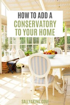 Adding a conservatory is a great way to extend your home, giving you an additional playroom, breakfast room or family room. Can't you just picture yourself relaxing in your new conservatory with a book while rain patters down on the roof above, or entertaining guests by candlelight in the evening? Find out all you need to know about adding a conservatory to your home #HomeDesign #HomeImprovements #Decor