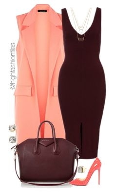"""""""Wine x Coral"""" by highfashionfiles ❤ liked on Polyvore featuring Givenchy, Christian Louboutin, Kate Spade, Forever 21 and Charlotte Russe"""