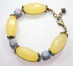 Chunky  Yellow Jade Gemstone Bracelet  Chunky by thejewelstreet, $43.00