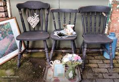 Loving this set of mismatched chairs in Graphite (. Lovely chalky grey/black) for a Looks so lovely mixed with neutral colours for a cool contemporary look!  Supplier to The Great British Bake Off  www.etsy.com/shop/theoldsummerhouse