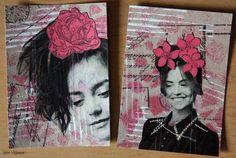 Käsitöitä flamencohame hulmuten: ATC-kortteja aikakausilehden kuvista / ATC with picture transfer