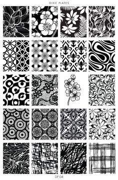 Dixie Plate - Lace, Floral and Ornamental Stamping Plate for Nail Stamping and Nail Art Doodle Art Drawing, Zentangle Drawings, Zen Doodle, Doodle Art Designs, Doodle Patterns, Zentangle Patterns, Pattern Art, Pattern Design, Vektor Muster