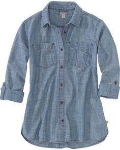Carhartt Fairview Solid Shirt for Ladies - Light Indigo - XS Carhartt Sweatshirts, Carhartt Jacket, Hooded Sweatshirts, Western Tops, Grey Hoodie, Work Wear, Button Up Shirts, Pants Outfit, Skirt Outfits