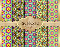 Colorful Patterns - Digital Paper Pack Digital Paper Scrapbook Paper Digital Collage Sheet Floral Background colorful