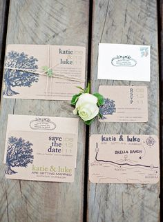 Rustic wedding invitation - like idea of having an oak tree but different style
