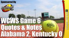 WCWS Game 6 Quotes and Notes: Alabama 2, Kentucky 0  Read the article: http://fastpitch.tv/wcws-game-6-quotes-notes-alabama-kentucky  Please visit my website http://SoftballJunk.com/  Take a look at my Fastpitch Softball books for the Kindle http://fastpitch.tv/fastpitch-tv-publishing   Subscribe to the newsletter http://fastpitch.tv/newsletter