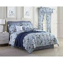 Royal Heritage Home Williamsburg Abby Ivory/White/Green Standard Cotton Reversible Traditional 4 Piece Comforter Set & Reviews | Wayfair Full Comforter Sets, Blue Comforter, Floral Comforter, Blue Bedspread, Duvet, Blue Garden, King Pillows, Large Furniture, Home Decor Outlet