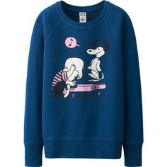 UNIQLO Women Peanuts Long Sleeve Sweat Pullover (31 BRL) ❤ liked on Polyvore featuring tops, comic book, long sleeve tops, sweater pullover, blue pullover and blue top