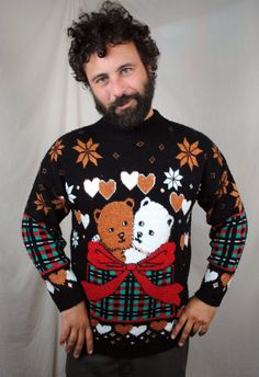 The teddy bears almost make this ugly Christmas sweater cute. Almost. #christmas #sweater #uglysweater #christmassweater #uglychristmassweater #holidays #seasonal #holidayparty #christmasparty #uglychristmassweaterparty