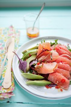 Salmon, avocado and grapefruit salad with chilli and garlic vinaigrette, from Dagmar's Kitchen