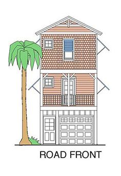 Coastal Home Plans - Beach Girl - Road Front Elevation Fishing Shack, Beach Cottage Decor, Beach Cottages, Beach Houses, Nautical Home, Coastal Homes, Beach Themes, House Plans, How To Plan