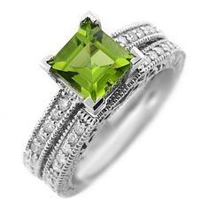 peridot wedding ring set - Google Search