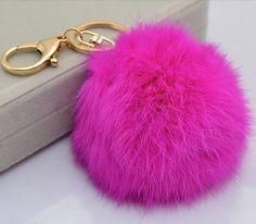 Genuine Rabbit fur ball pom pom keychain for car by YogaStudio55