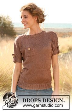 Knitted DROPS sweater with breast pocket and sleeve flaps in Cotton Viscose.  Size: S - XXXL.   Free pattern by DROPS Design.