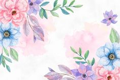 Download Watercolor Flowers Background In Pastel Colors for free